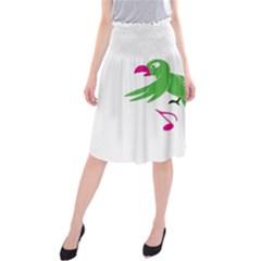 Parrot Bird Green Midi Beach Skirt