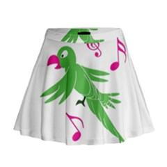 Parrot Bird Green Mini Flare Skirt