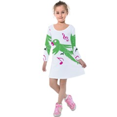 Parrot Bird Green Kids  Long Sleeve Velvet Dress
