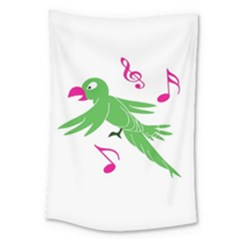 Parrot Bird Green Large Tapestry