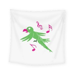 Parrot Bird Green Square Tapestry (small)