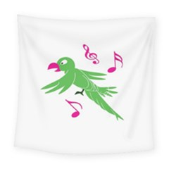 Parrot Bird Green Square Tapestry (large)