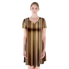 Line Brown Short Sleeve V-neck Flare Dress