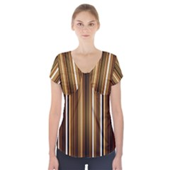 Line Brown Short Sleeve Front Detail Top