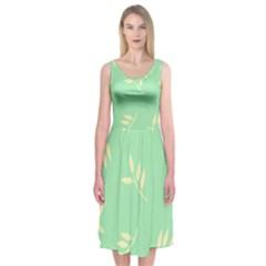 Pastel Leaves Midi Sleeveless Dress