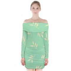 Pastel Leaves Long Sleeve Off Shoulder Dress