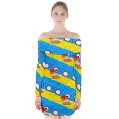 Machine Washing Clothes Blue Yellow Dirty Long Sleeve Off Shoulder Dress