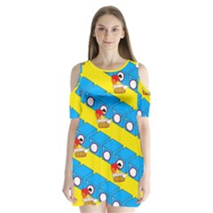 Machine Washing Clothes Blue Yellow Dirty Shoulder Cutout Velvet  One Piece