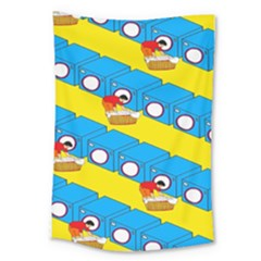 Machine Washing Clothes Blue Yellow Dirty Large Tapestry