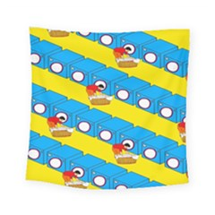 Machine Washing Clothes Blue Yellow Dirty Square Tapestry (small)