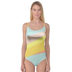 Pink Green Yellow Line Flag Camisole Leotard