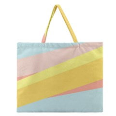 Pink Green Yellow Line Flag Zipper Large Tote Bag