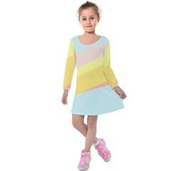 Pink Green Yellow Line Flag Kids  Long Sleeve Velvet Dress