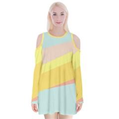 Pink Green Yellow Line Flag Velvet Long Sleeve Shoulder Cutout Dress