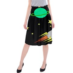Planet Saturn Rocket Star Midi Beach Skirt