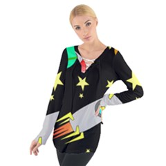 Planet Saturn Rocket Star Women s Tie Up Tee