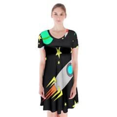 Planet Saturn Rocket Star Short Sleeve V-neck Flare Dress