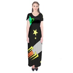 Planet Saturn Rocket Star Short Sleeve Maxi Dress