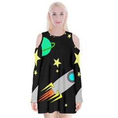 Planet Saturn Rocket Star Velvet Long Sleeve Shoulder Cutout Dress
