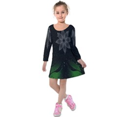 Night Sky Flower Kids  Long Sleeve Velvet Dress
