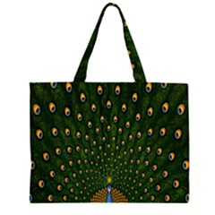 Peacock Feathers Green Large Tote Bag