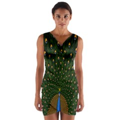 Peacock Feathers Green Wrap Front Bodycon Dress