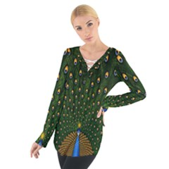 Peacock Feathers Green Women s Tie Up Tee