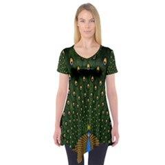 Peacock Feathers Green Short Sleeve Tunic
