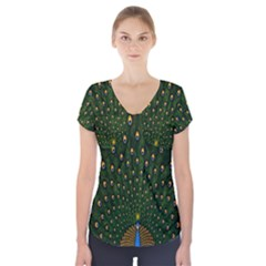 Peacock Feathers Green Short Sleeve Front Detail Top