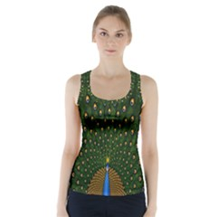 Peacock Feathers Green Racer Back Sports Top