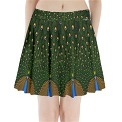 Peacock Feathers Green Pleated Mini Skirt