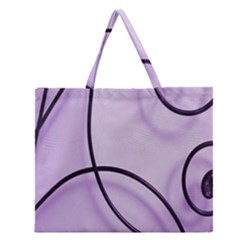 Purple Background With Ornate Metal Criss Crossing Lines Zipper Large Tote Bag