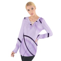 Purple Background With Ornate Metal Criss Crossing Lines Women s Tie Up Tee