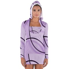 Purple Background With Ornate Metal Criss Crossing Lines Women s Long Sleeve Hooded T-shirt