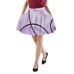 Purple Background With Ornate Metal Criss Crossing Lines A-Line Pocket Skirt