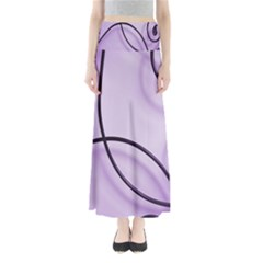Purple Background With Ornate Metal Criss Crossing Lines Maxi Skirts