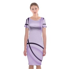 Purple Background With Ornate Metal Criss Crossing Lines Classic Short Sleeve Midi Dress
