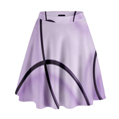 Purple Background With Ornate Metal Criss Crossing Lines High Waist Skirt