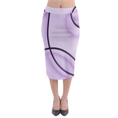 Purple Background With Ornate Metal Criss Crossing Lines Midi Pencil Skirt