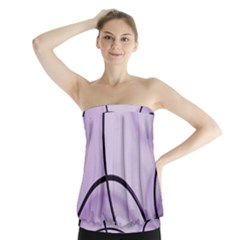 Purple Background With Ornate Metal Criss Crossing Lines Strapless Top