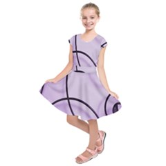 Purple Background With Ornate Metal Criss Crossing Lines Kids  Short Sleeve Dress