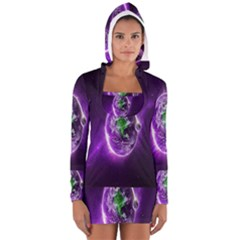 Purple Space Planet Earth Women s Long Sleeve Hooded T-shirt