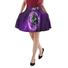 Purple Space Planet Earth A-Line Pocket Skirt