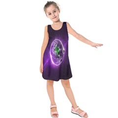 Purple Space Planet Earth Kids  Sleeveless Dress