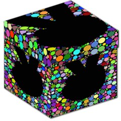 Prismatic Negative Space Comic Peace Hand Circles Storage Stool 12