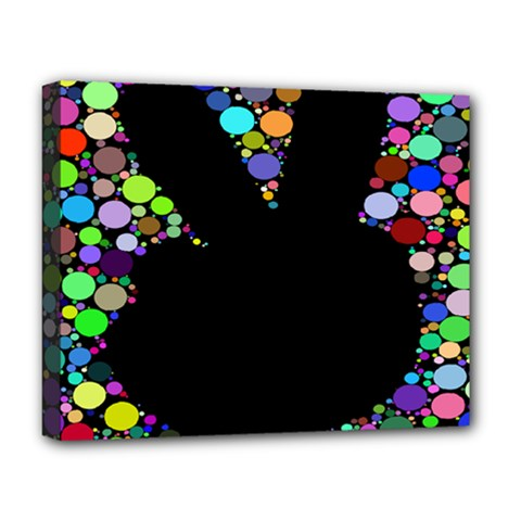 Prismatic Negative Space Comic Peace Hand Circles Deluxe Canvas 20  x 16