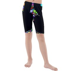 Prismatic Negative Space Comic Peace Hand Circles Kids  Mid Length Swim Shorts