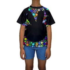 Prismatic Negative Space Comic Peace Hand Circles Kids  Short Sleeve Swimwear