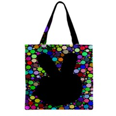 Prismatic Negative Space Comic Peace Hand Circles Grocery Tote Bag