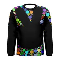 Prismatic Negative Space Comic Peace Hand Circles Men s Long Sleeve Tee